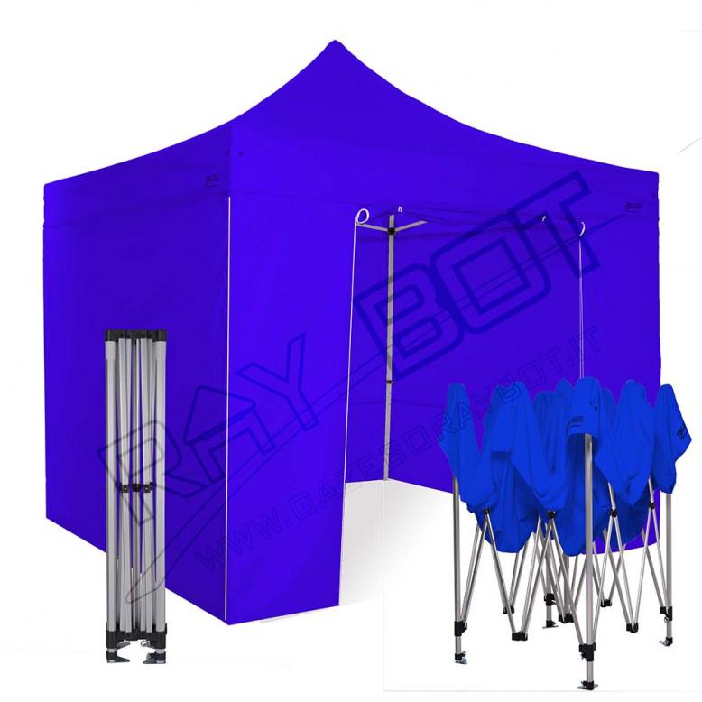 Gazebo In Alluminio 4x4.Gazebo Pieghevole 4x4 Alluminio Exa 45mm Blu Esagonale 4 Laterali