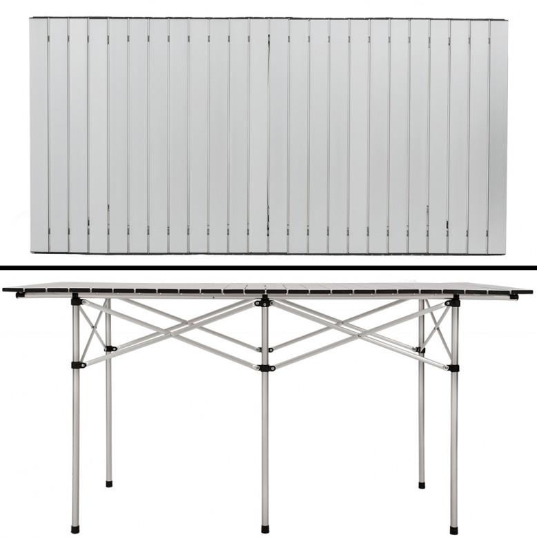 Tavolo in alluminio pieghevole arrotolabile 140x70x70cm for Tavolo 70 x 120