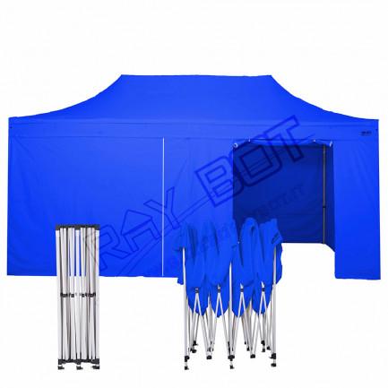 Gazebo Pieghevole 3x6 blu RAY BOT GAMBO 40X40 + 4 teli laterali PVC 350g 6RB40