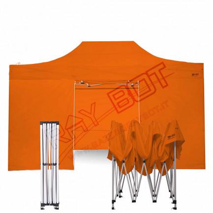 Gazebo Pieghevole 3x4.5 ARANCIONE RAY BOT GAMBO 40X40  + 4 teli laterali PVC 350g 4RO40