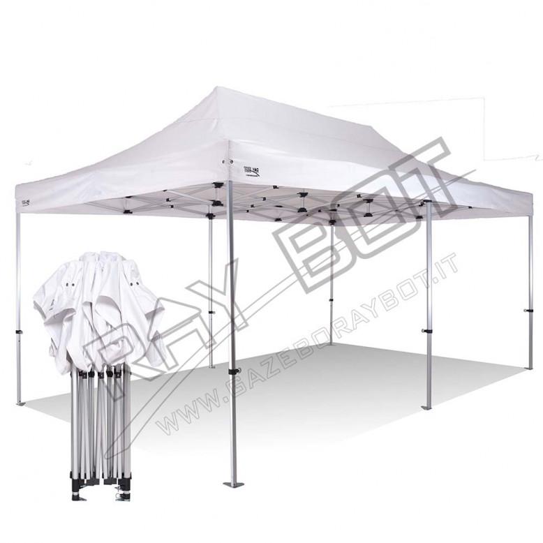gazebo pieghevole 3x6 alluminio exa 45mm bianco esagonale senza laterali prezzo online. Black Bedroom Furniture Sets. Home Design Ideas