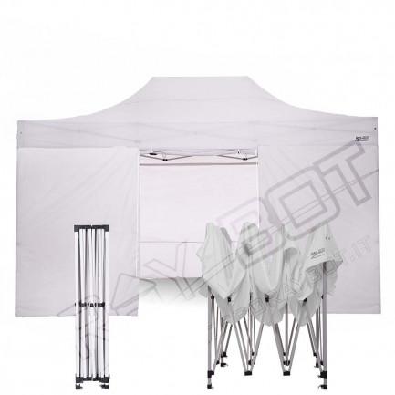 Gazebo Pieghevole 3x4.5 bianco RAY BOT GAMBO 40X40 + 4 teli laterali PVC 350g 4RW40